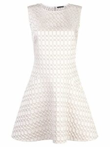 Josie Natori jacquard fit and flare dress - White