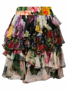Dolce & Gabbana short floral ruffled skirt - Black