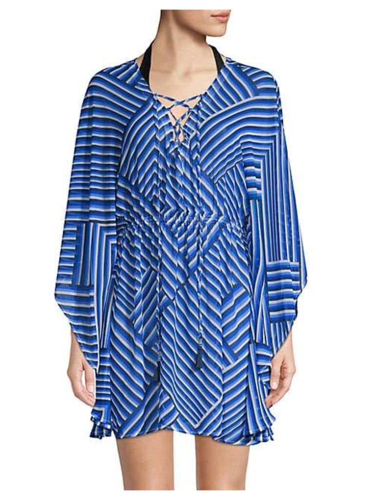 Geometric-Print Lace-Up Cover-Up
