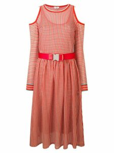 Fendi double microcheck belted midi dress - Red