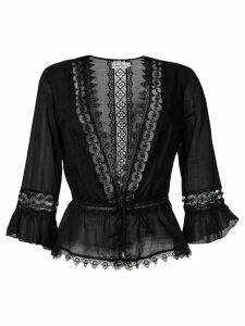 Charo Ruiz embroidered waist-tied blouse - Black