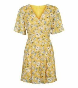 Blue Vanilla Yellow Floral Wrap Dress New Look