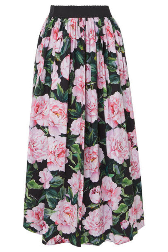 Dolce & Gabbana - Gathered Floral-print Cotton-poplin Maxi Skirt - Pink