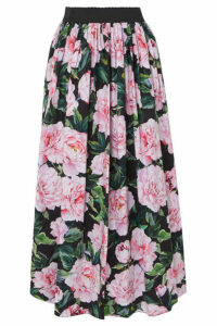 Dolce & Gabbana - Gathered Floral-print Cotton-poplin Maxi Skirt - Pink