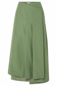 REJINA PYO - Laurie Cotton And Linen-blend And Silk Wrap Skirt - Green