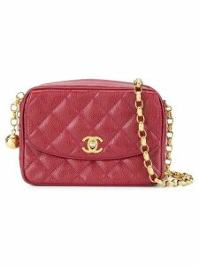 Chanel Pre-Owned quilted fringe chain shoulder bag - Red