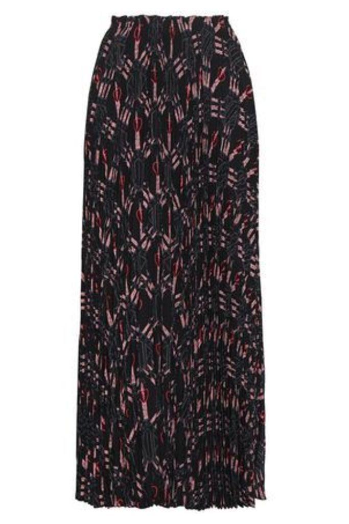 Valentino Garavani Woman Pleated Printed Silk Crepe De Chine Maxi Skirt Black Size 38