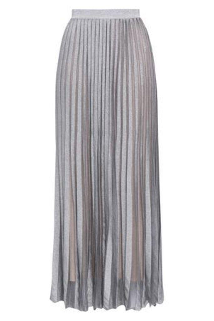 Antonino Valenti Woman Pleated Metallic Stretch-knit Maxi Skirt Silver Size 46