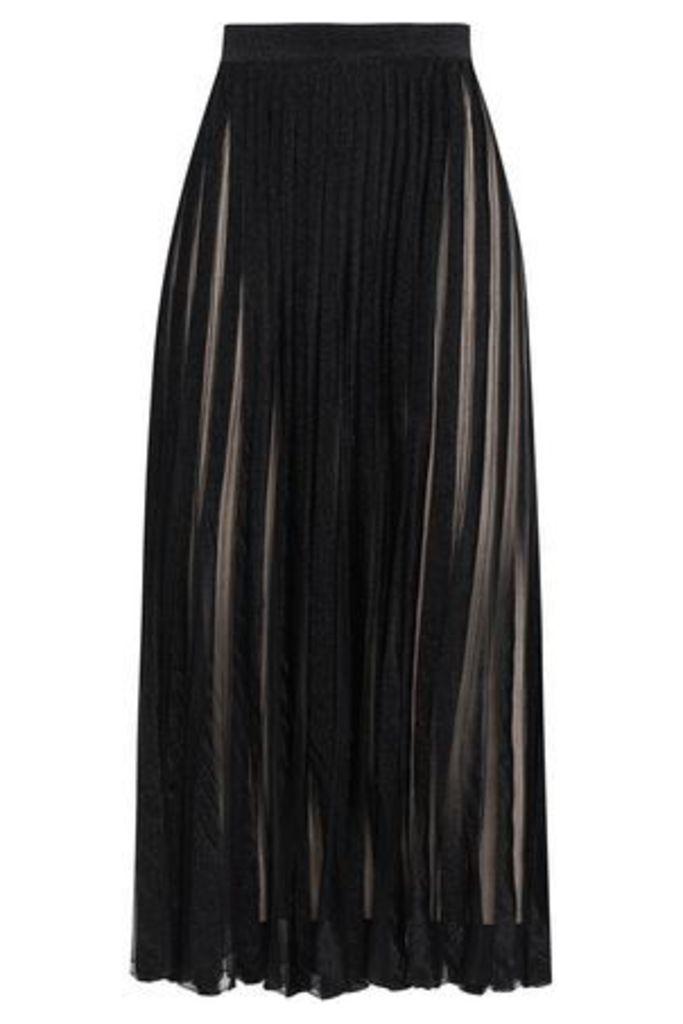 Antonino Valenti Woman Pleated Metallic Stretch-knit Maxi Skirt Black Size 44