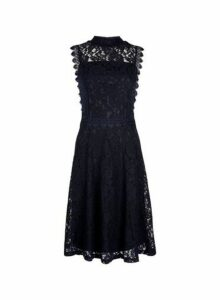Womens Navy Shirred Neck Lace Skater Dress- Blue, Blue