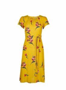 Womens Petite Yellow Floral Print Midi Dress- Yellow, Yellow