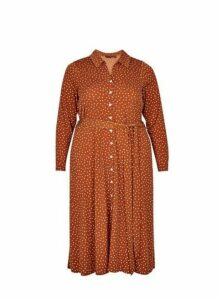 Womens **Dp Curve Ginger Spot Print Midi Shirt Dress- Ginger, Ginger