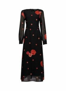 Womens Multi Colour Floral Print Boarder Maxi Dress- Multi Colour, Multi Colour
