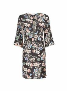 Womens **Billie & Blossom Black Floral Print Zip Shift Dress- Black, Black