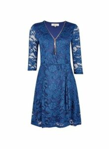 Womens **Billie & Blossom Navy Lace Zip Fit And Flare Dress- Blue, Blue