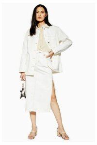 Womens Side Split Denim Midi Skirt - Cream, Cream