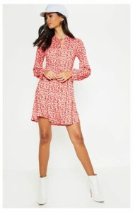 Red Floral Printed Tie Neck Jersey Tea Dress, Red