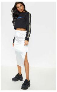 Silver Satin Side Split Midi Skirt, Grey