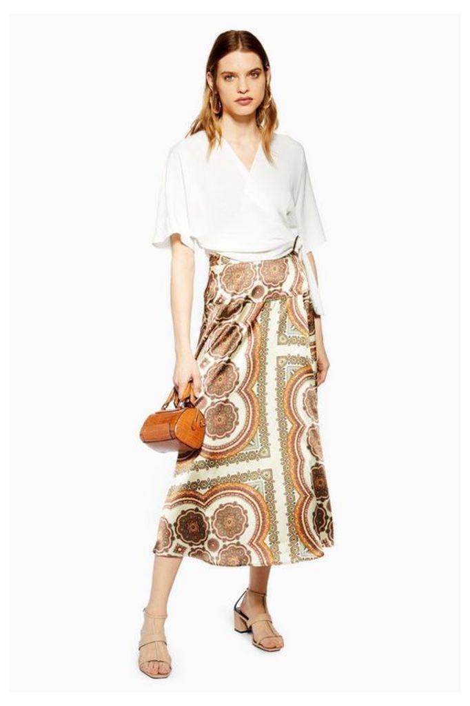 Womens Petite Paisley Bias Wrap Midi Skirt - Multi, Multi