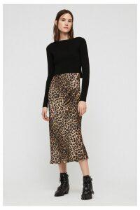 Womens AllSaints Leopard Hera 2-In-1 Dress -  Animal