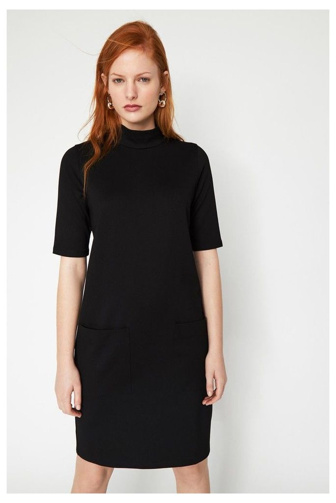 Womens Warehouse Black Ponte Pocket Mini Dress -  Black