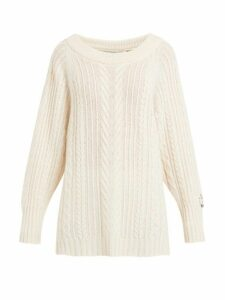 Queene And Belle - Oversized Boat Neck Cable Knit Cashmere Sweater - Womens - Cream