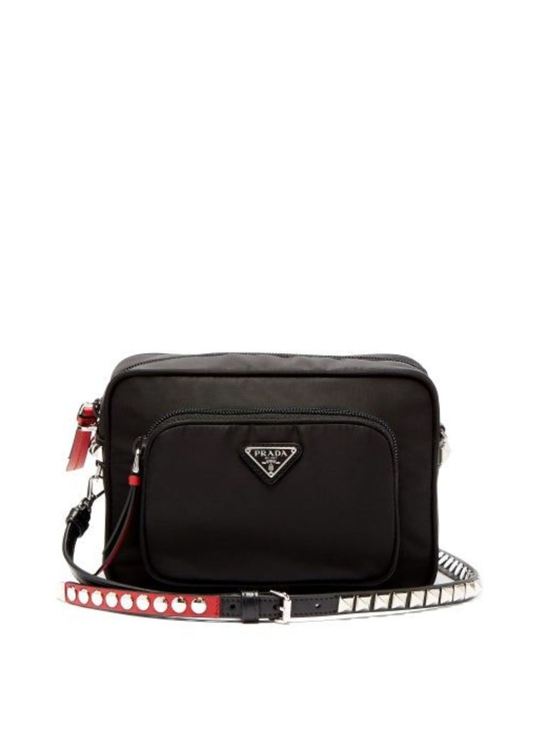 Prada - New Vela Mini Studded Nylon Cross Body Bag - Womens - Black Red