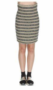 Balmain Logo Balmain Stripe Skirt