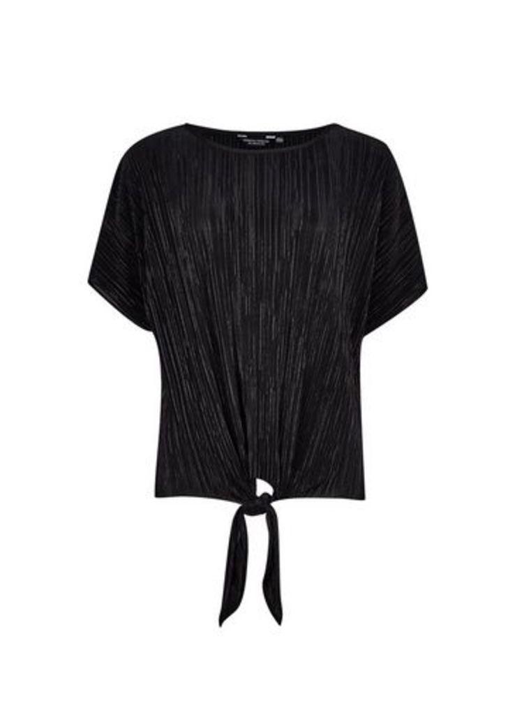 Womens Black Tie Front Plisse Top- Black, Black