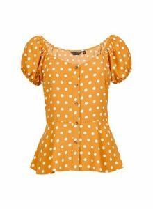 Womens Yellow Spotted Button Through Top- Yellow, Yellow