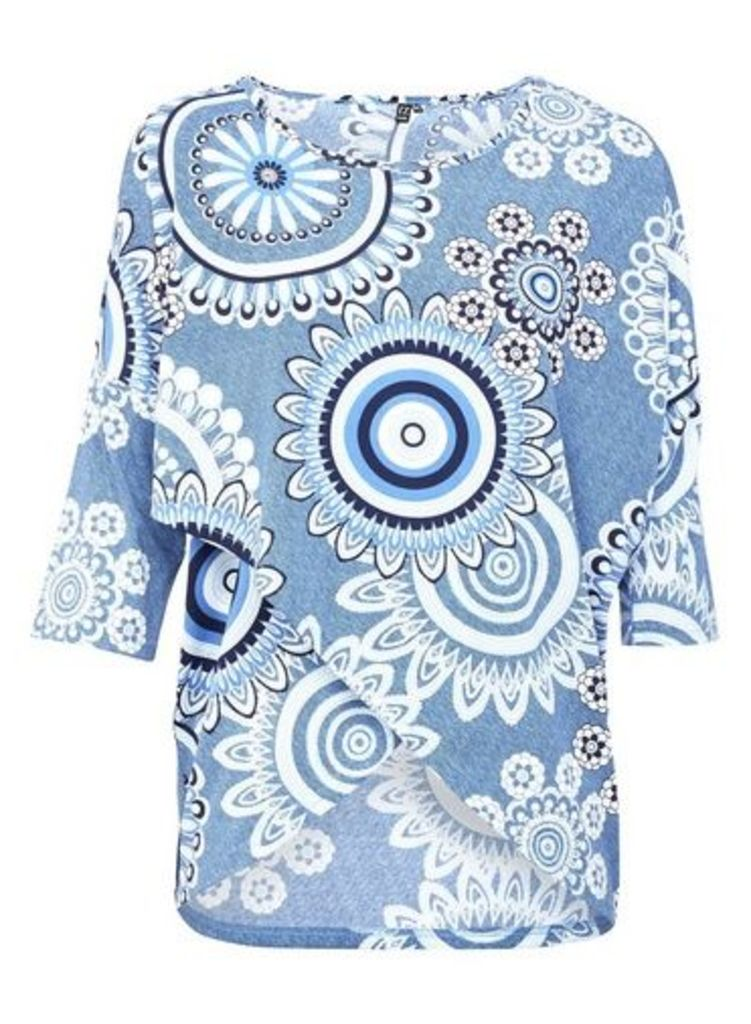 Womens *Izabel London Blue Mosaic Print Wrap Front Top- Multi Colour, Multi Colour