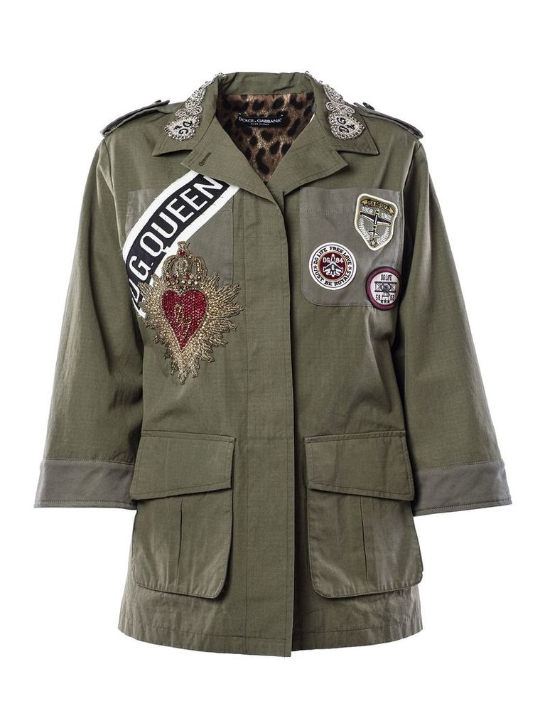 Dolce & Gabbana Badge Patched Military Jacket