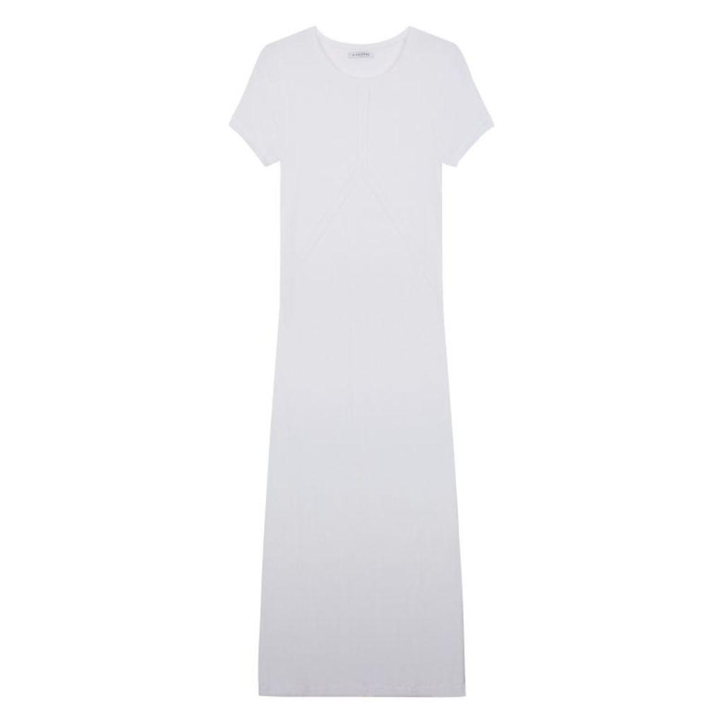NICOLE FARHI Off White Eliza Crew Neck Dress