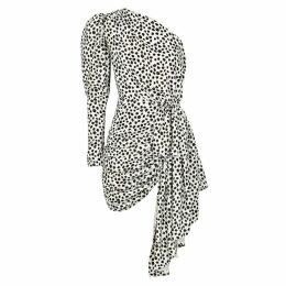 16 Arlington Dalmatian-print One-shoulder Mini Dress