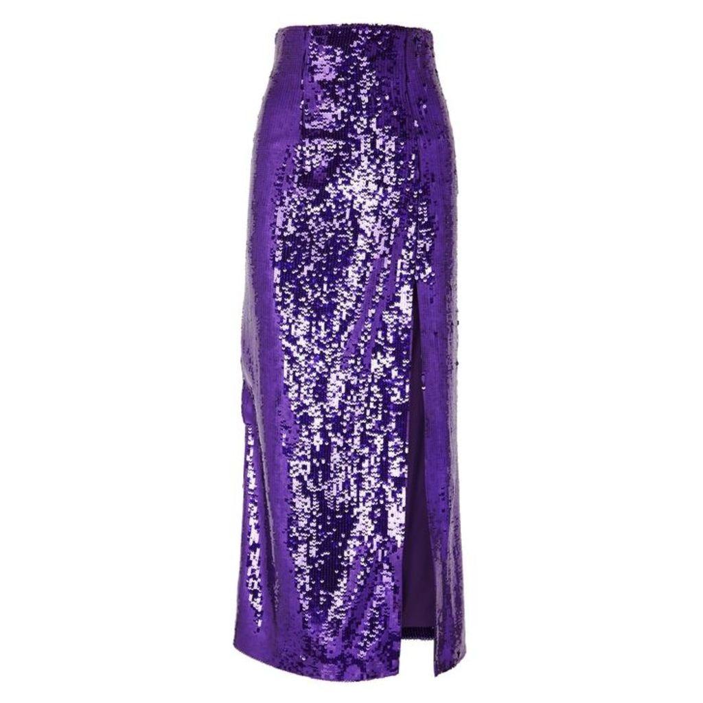 16 Arlington Purple Sequin Midi Skirt