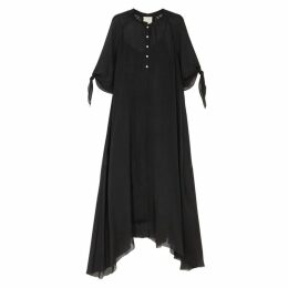Forte forte Black Silk Chiffon Maxi Dress