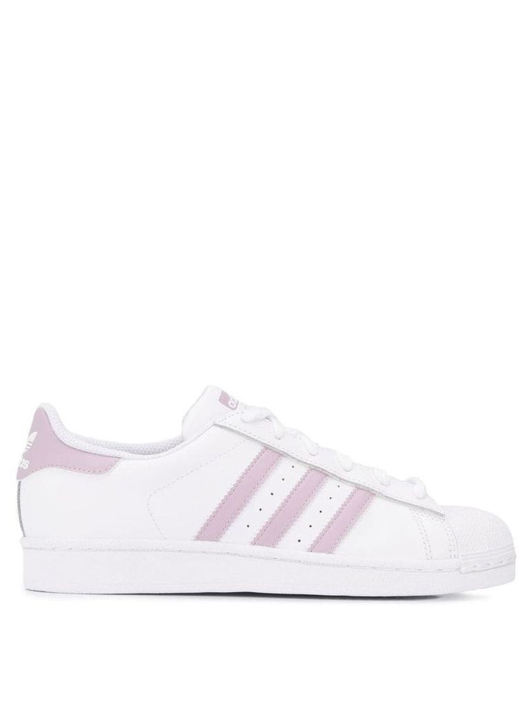 Adidas side striped sneakers - White