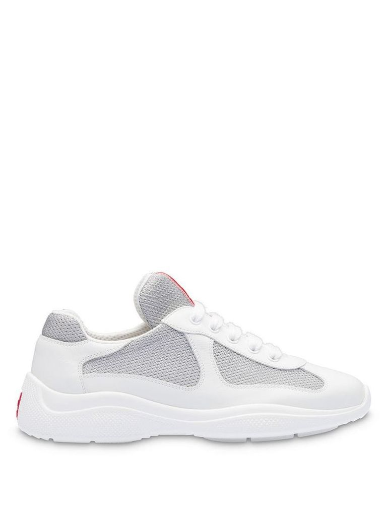 Prada Leather and fabric sneakers - White