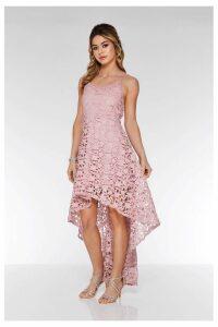 Womens Quiz Crochet Dip Hem Skater Dress -  Pink