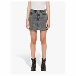 AllSaints Lexi Washed Denim Skirt, Acid Black