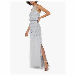 Monsoon Toni Embellished Maxi Dress, Silver