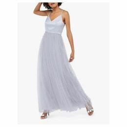 Monsoon Hollyanne Satin Bodice Tulle Skirt Maxi Dress