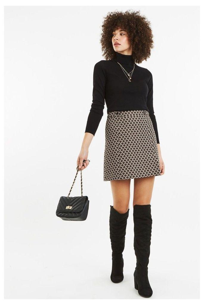 Womens Oasis Natural Button Jacquard Skirt -  Natural