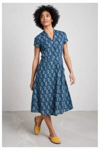 Womens Seasalt Blue Pencil Box Dress Decorative Leaf Night -  Blue