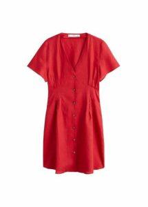 Pleats detail linen-blend dress
