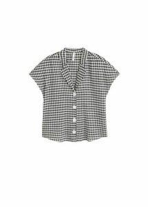 Camp-collar linen-blend shirt