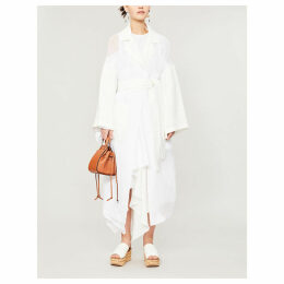 Belted cotton and linen coat