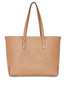Burberry Small Embossed Crest Leather Tote - Neutrals
