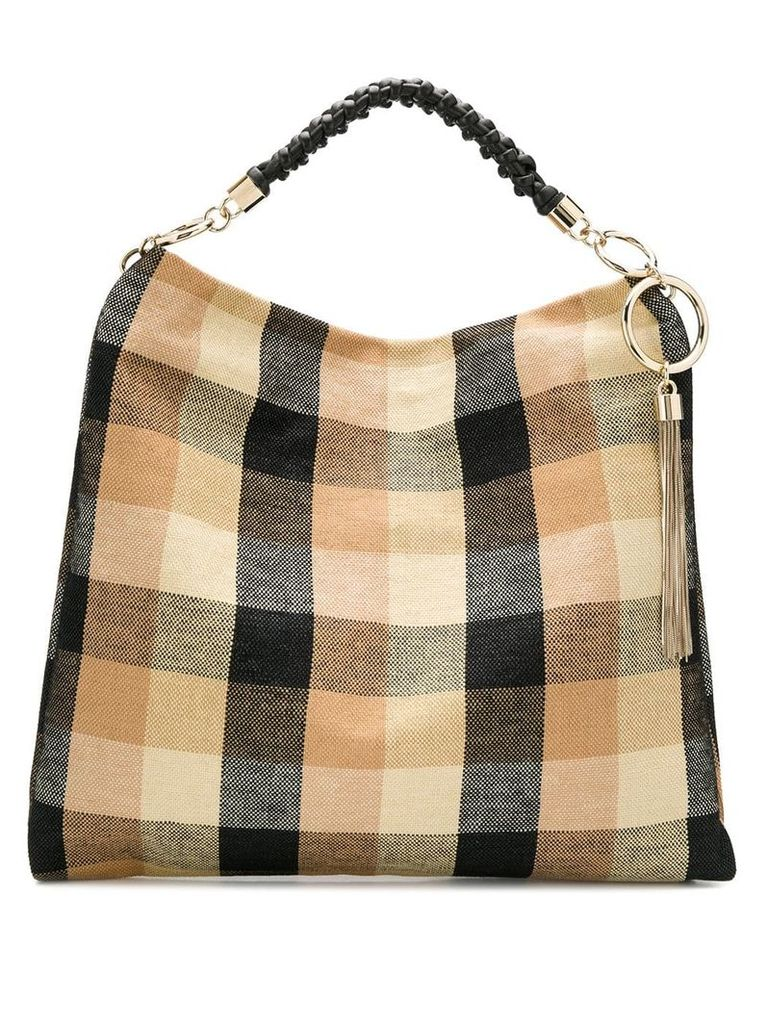 Jimmy Choo Callie check print shoulder bag - Black