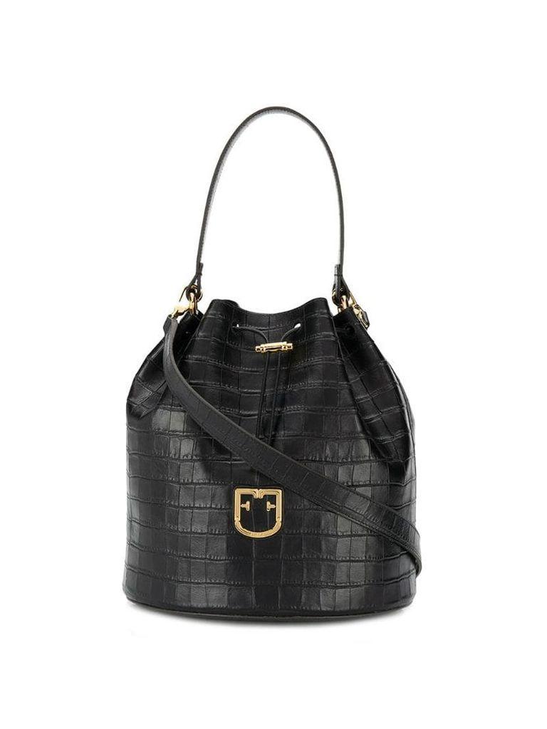 Furla croco-effect bucket bag - Black